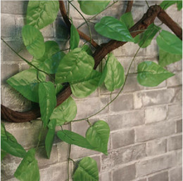 leaf vine wall Canada - Idyllic Decorative Artificial Climbing Vine Fake Ivy Cane 2.3 Meter Long Apple Leaf For Home Wall Restaurant Garden Railing Decoration