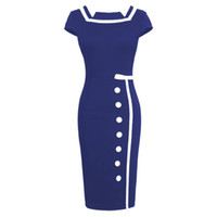 Wholesale Office Wear Fashion For Ladies - Fashion Women Vintage Dress Cocktail dress for Office Work ladies Clothing S-2XL Plus size Free Shipping Dropship