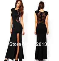 uzun açık yarık kırmızı elbise toptan satış-Elbiseler YENI Moda Seksi kadın Moda Dantel Örgü Patchwork Geri Bel Hollow Out Katı Siyah / Kırmızı Ince Yan Yarık Açık Uzun Dres