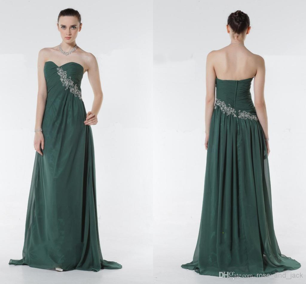 New 2015 Forest Green Prom Dresses Sweetheart Open Back Beaded With