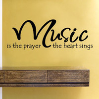 Wholesale Music Vinyl Wall Sticker - Free Shipping Music is the prayer the heart sings Wall Art Vinyl Lettering Decal Sticker