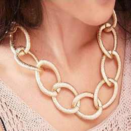 Wholesale Gold Plated Chunky Chain Necklace - Fashion Chunky Rose Gold Twisted Link Chain LaFashion Chunky Rose Gold Twisted Link Chain Ladies' Stadies' Statement Choker Necklace Jewelry