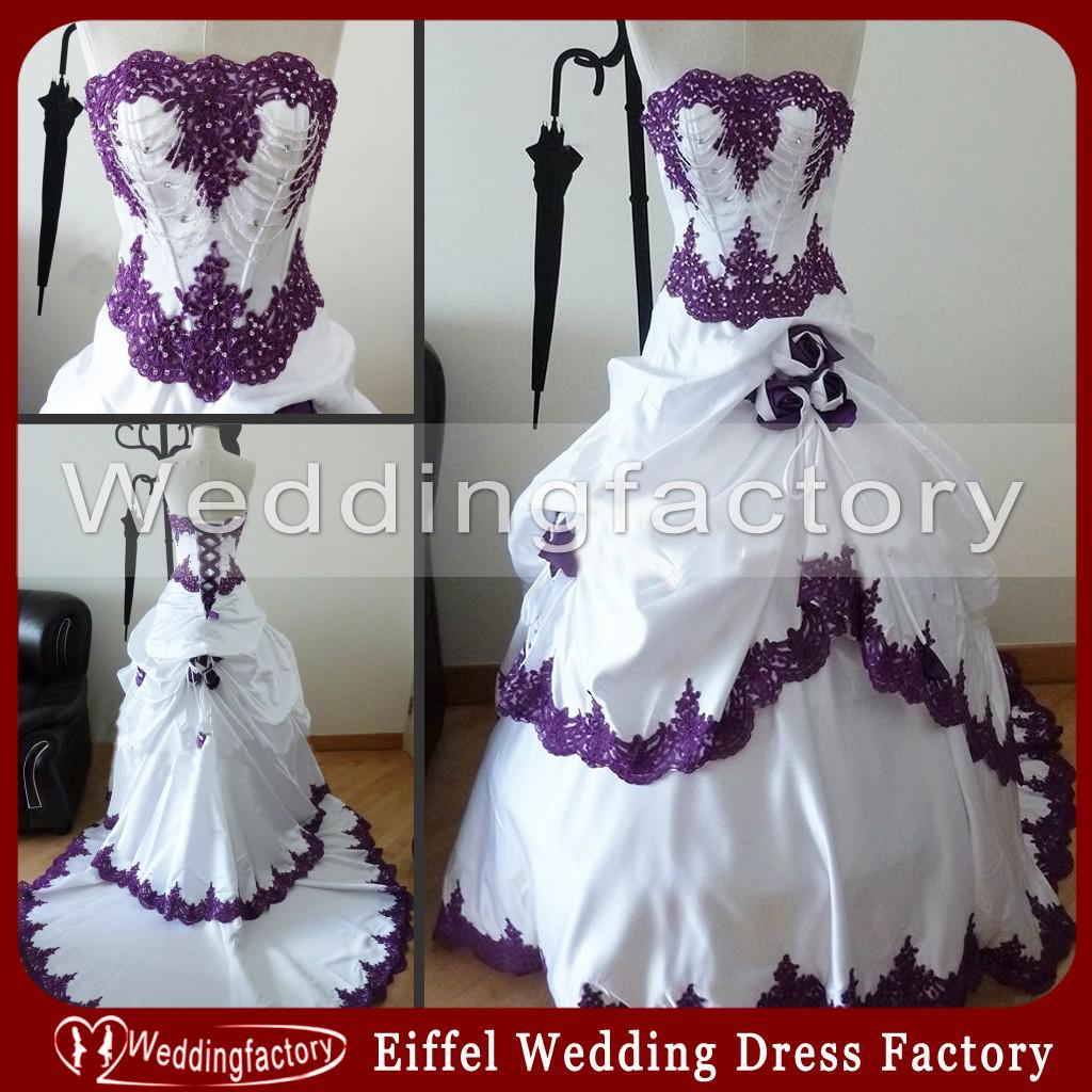 Purple And White Wedding Dresses Strapless Real Sample Lace Appliques Bridal  Gowns With Beading Handmade Flowers Gothic Black And White Wear Formal Ball  ...