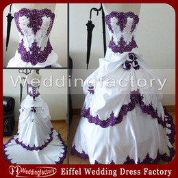 Wholesale Vintage Purple Bridal Gown - Purple and White Wedding Dresses Strapless Real Sample Lace Appliques Bridal Gowns with Beading Handmade Flowers Gothic Black and White Wear