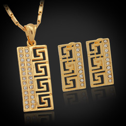 Wholesale Vintage Mexican Silver Bracelets - U7 Vintage G Style Earrings Pendant Necklace Set Women Gift New Trendy Platinum 18K Real Gold Plated Rhinestone Perfect Jewelry Sets