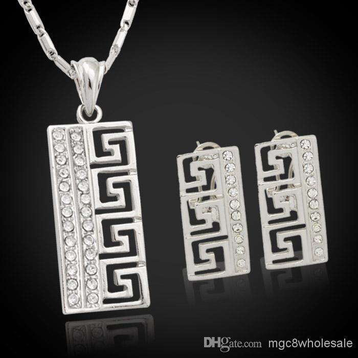 Set di orecchini pendenti con orecchini in stile G vintage U7 Regalo da donna Set di gioielli perfetti con strass alla moda in platino placcato oro 18 carati