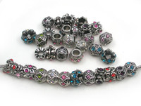 Wholesale Spacer Beads Antique Silver - 50pcs  lot antique silver plated alloy crystal rhinestone beads mix color spacer charms for European bracelet and necklace DIY