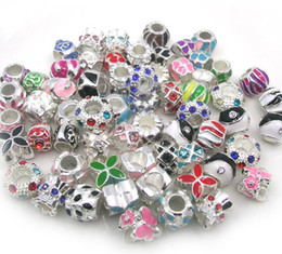 Wholesale Silver Plated Round Rhinestones Beads - 50pcs  lot silver plated alloy crystal rhinestone beads mix color spacer charms for European bracelet and necklace DIY