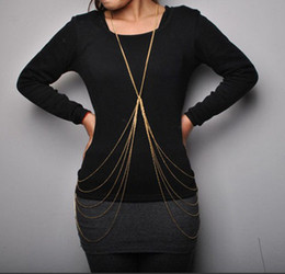 Wholesale Sexy Indian Womens - Europe style gold silver metal Multilayer sexy body chain necklace 6Pieces lot womens body jewelry