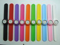 Wholesale Slap Watch Mixed - New Arrival Mix Color Slap Snap on PaPa Quartz Unisex Silicone Watch Sports Men Women Watches