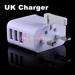 Wholesale Tab Usb Port - 3 Port USB 3A UK Plug Wall Charger AC Adapter For Samsung Galaxy S8 Note 5 Phone Galaxy Tab ipad iphone Tablet