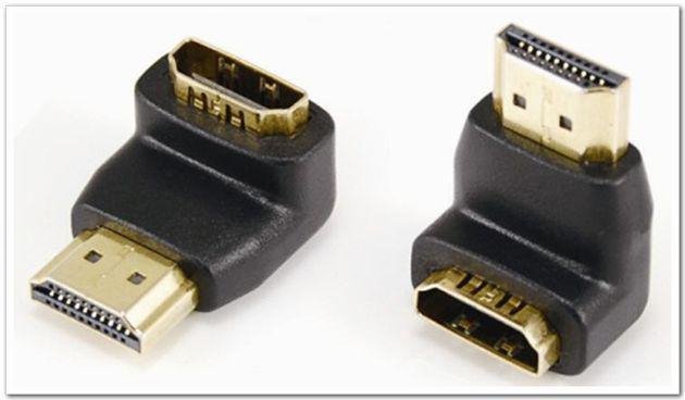 مطلية بالذهب HDMI ذكر إلى HDMI أنثى 90 درجة زاوية محول HDMI موسع محول الكابل ل HDTV موصل