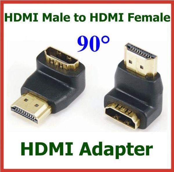 50pcs plaqué or HDMI mâle vers HDMI femelle 90 degrés Angle Adaptateur HDMI Extender Câble Convertisseur pour HDTV Connecteur
