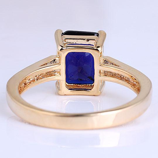 Простой стиль Леди продолговатый вырезать камень желтое золото отделка стерлингового серебра 925 кольцо Синий сапфир подарок для матери размеры цвета выбирается R100