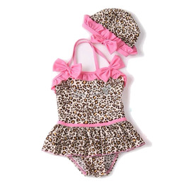Wholesale Baby Romper Beach - Hot Baby Girl Swimwear Summer Beach Swimsuit Cotton Leopard 2pcs Swim Suits Children Clothing Wrinkled Lace Cap And One-Piece Romper