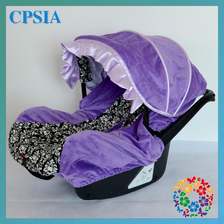 08 DHL Free Purple Baby Girl Infant Car Seat Covers Slip Set Decoration Cover Canopy Carseat
