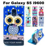 Wholesale Fire Resistant - For Galaxy S5 Case Cute Fire Balloons Flower Heart Owl bowknot Wallet PU leather Case With Credit Card Slot For Samsung Galaxy i9600