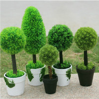 5 Styles Idyllic Decorative Potted Plants Artificial Fake Grass Ball For  Home Living Room Ornaments Garden Decoration