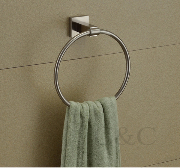 best selling Brushed Nickel 304 Stainless Steel Bathroom Towel Rings - Free Shipping YS-2009