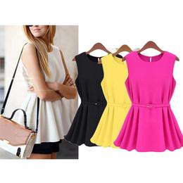 Wholesale Ladies Black Pleated Mini Skirt - S5Q Summer Women Lady Knit Pleated Short Skirt Mini Belt Dress Casual Sundress AAADGC
