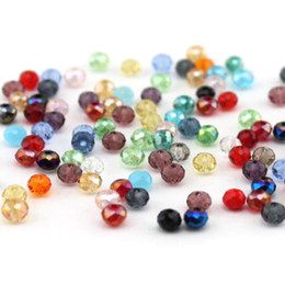 Wholesale 6mm Round Glass Beads Wholesale - 6mm Mix Colours Crystal Beads Glass Beads Rondelle Loose Beads Free Shipping Wholesale