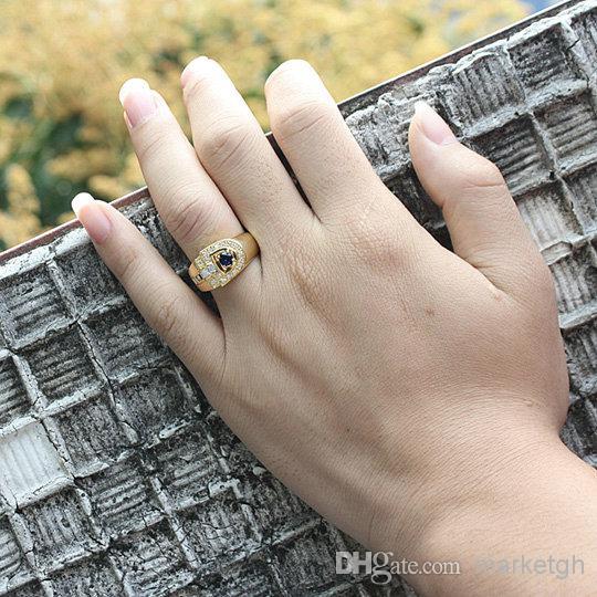 Nuovi uomini oro giallo colore 925 anello in argento sterling simulato blu zaffiro cubico zirconia cz rotondo mix formato prezzo all'ingrosso di colore r114