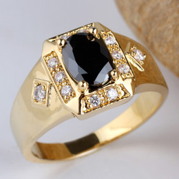 Wholesale Onyx 925 Sterling Silver - New Cute Mens Gold Filled Real 925 Sterling Silver Ring Black Onyx Size10 11 12 13 R117