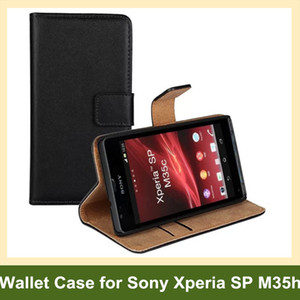Wholesale New Arrive Genuine Leather Wallet Flip Cover Case for Sony Xperia SP M35h