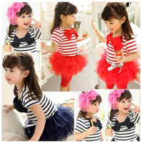 Wholesale Cute Summer Dresses For Kids - summer 3 colors girls tutu christmas pageant dresses stripe printed for kids lovely princess party dress with bow suit baby free shipping