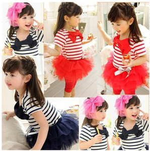 summer 3 colors girls tutu christmas pageant dresses stripe printed for kids lovely princess party dress with bow suit baby free shipping
