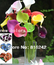 wholesale white purple calla lilies Promo Codes - 14COLORS!! NATURAL REAL TOUCH FLOWERS WHITE&DARK PURPLE&PINK CALLA LILY FOR WEDDING BRIDAL BOUQUETS 36PCS LOT