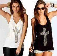 Wholesale Ladies Diamond Shirt - 2014 Hotsale New Retri Lady Girl Diamond Cross Vest Tops Hollow Back set Loose Shirt