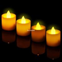Wholesale April 24 - Set of 24 Flickering Flicker Flameless LED Tealight Tea Candles Light Battery Operated for Wedding Birthday Party Christmas Xmas
