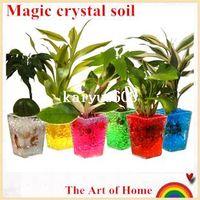 Wholesale Novelty Flower Vases - Magic crystal soil hydrogel beads flower vase   wedding table centerpieces decor novelty households aqua soil colorful 100g lot