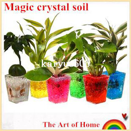 Wholesale Crystal Vases Wedding - Magic crystal soil hydrogel beads flower vase   wedding table centerpieces decor novelty households aqua soil colorful 100g lot