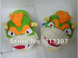 Wholesale Diddy Plush - Bowser slippers Cosplay Plush Doll 11 inch Adult Plush Slipper diddy kong