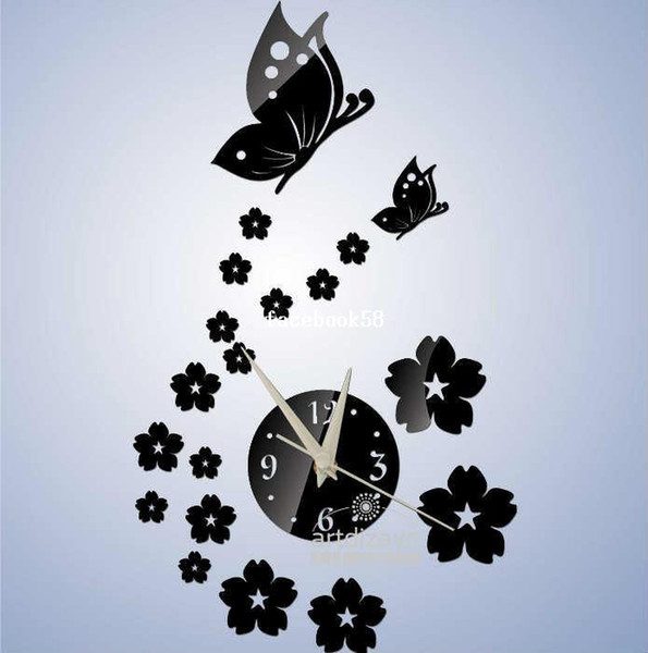 best selling Free shipping two color 3d Best home decoration !mirror wall clock .DIY clock,Unique gift !The butterfly and flowers Z052