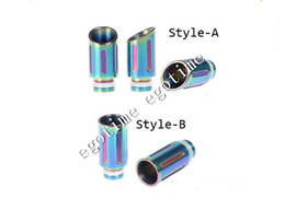 Wholesale E Cigar Mod - Rainbow Metal 510 Wide Bore Drip Tip Pure Stainless Steel EGO Mouthpiece Fit E cigars X8 Vaporizer Protank Mods Vivi Nova atomizer