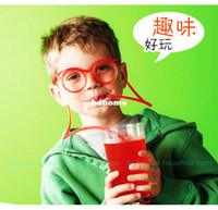 Wholesale Eyeglasses Drinking - Free shipping !5PCS LOT Novelty items Amazing Silly Straw Drinking Glasses Eyeglass Frames Piped 5 colors best gift for child