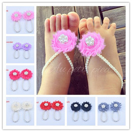 Wholesale Embellished Sandals - Pearls baby toddler barefoot sandals jewelry stunning for christening's with shabby chic rhinestone embellished newborn 5pair lot