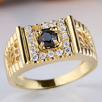 Wholesale Engraving Cutting - Man 925 Sterling Silver Ring Yellow Gold Finish Black Onyx Round Cut Rings for Party Sizes & Colors for Choice Engraving Service R125