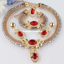 Wholesale Gold Double Rings - New 18k Gold Filled Clear Austrian Crystal Garnet Double Chain Necklace Bracelet Earring Ring Jewelry Set