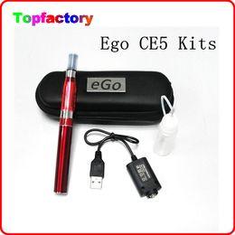 Wholesale Ce5 Various - ego electronic cigarette kits CE5 clearomizer E cigarette 650mah 900mah 1100mah battery various colors with black zip case DHL free