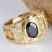 gümüş oval ring erkek toptan satış-Erkekler Altın GF Sterling 925 Gümüş Yüzük Siyah Kübik Zirkonya 7x9mm Oval Size10 11 12 13 R127