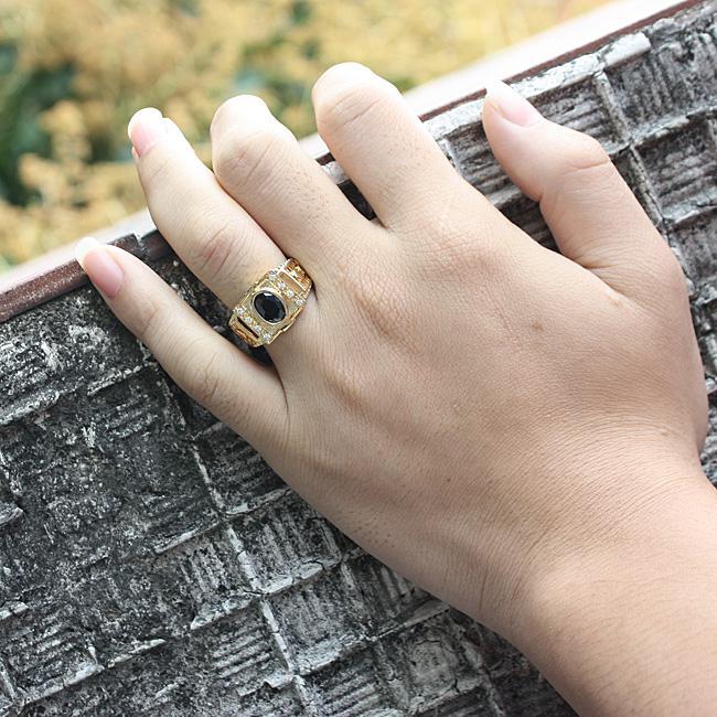 Ассорти заказы 5 шт. / Лот мужчины золото отделка стерлингового серебра 925 пробы черный оникс размеры смешивания цветов гравировка службы настройки R127