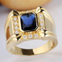 Men's Gold Plated 925 Sterling Silver Ring Large Square Band 7x9mm Rectangular Cut Stone Size 10 11 12 13 R128