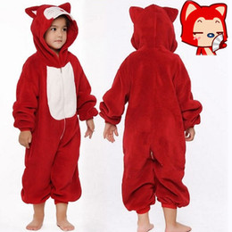 Wholesale Men Footed Pajamas - Red Fox Kids Animal Pajamas Fancy Dress Costume Boys & Girls Onesie Outfit Medium Girl Jumpsuit Footed Pijamas Kids