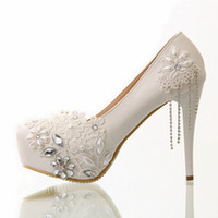 Wholesale White Pu Pumps - White Crystal Tassel High Heel Wedding Shoes Lace Pearls 11.5 cm Party Shoes Pumps 2014