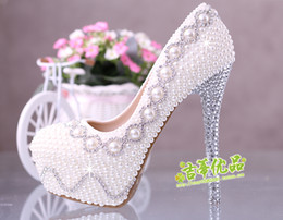 Wholesale Lace Bling Heels - 2015 Bling High Heel Wedding Shoes Lace Pearls Beaded 12 cm 14 cm Bridal Party Shoes