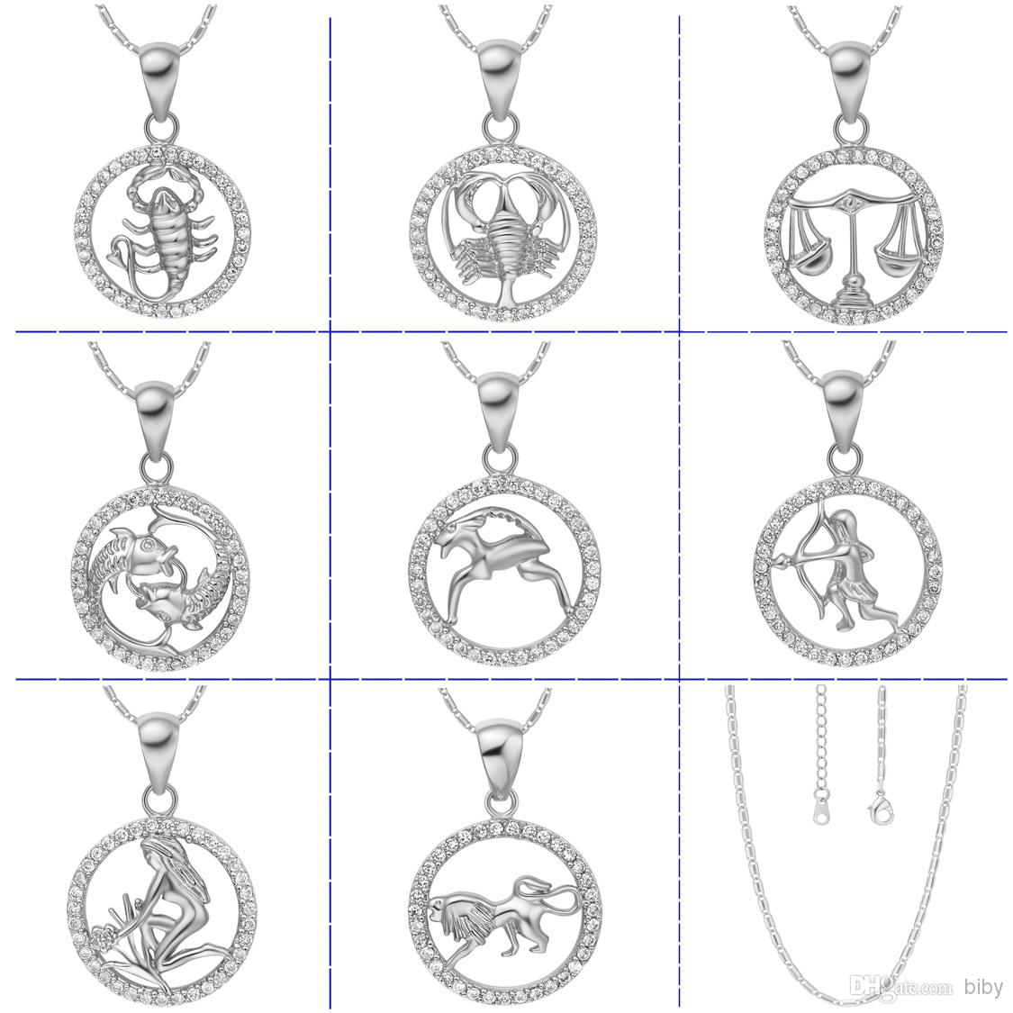 Wholesale 925 silver necklace rose gold pendants zodiac pendant wholesale 925 silver necklace rose gold pendants zodiac pendant without chainfashion necklaces for women 2014 chain necklace mens necklace from biby mozeypictures Gallery